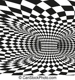 derékszögben, wormhole, alagút, elvont, fehér, ábra, vektor, fekete, geometriai, illusion., látási, distort.