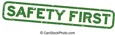 derékszögben, zöld, fóka, grunge, háttér, biztonság, fehér, először, bélyeg, gumi