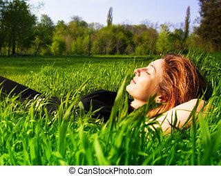 derült, külső, bágyasztó, nő, friss, fű