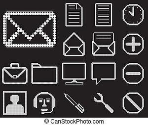design., háló, állhatatos, ikonok