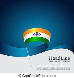 design., nemzeti lobogó, vektor, állam, poster., repülő, fedő, indiai, befest, szalag, fehér, hullámos, india, kék, háttér., transzparens, hazafias