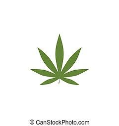 design., zöld, vektor, levél növényen, 10, eps, marihuána, ábra, jel, sablon