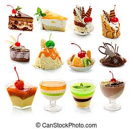 desszert, delicous, fehér, elszigetelt, gyűjtés