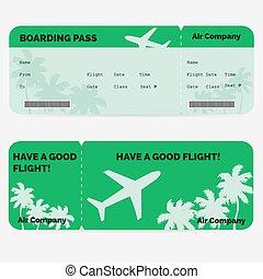 deszkaburkolat, elszigetelt, pass., zöld, légitársaság, háttér, cédula, fehér
