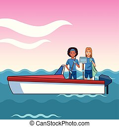 deszkaburkolat, személy, két, csónakázik