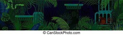 detektívek, állatok, háttér., vektor, rainforest, vad, horizontális