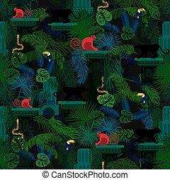detektívek, állatok, pattern., seamless, rainforest, vad