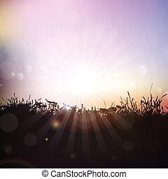 detektívek, árnykép, ég, ellen, napnyugta, fű