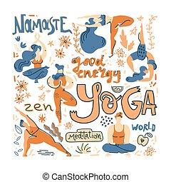 detektívek, lakás, mód, jóga, illustration., poszter, yogis, skandináv, vektor, lettering., nép