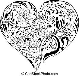 detektívek, szív alakzat, fekete, white virág