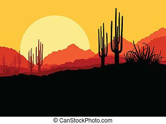 detektívek, természet, fa, ábra, vektor, pálma, háttér, vad, kaktusz, cserbenhagy parkosít