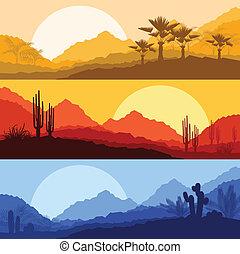 detektívek, természet, fa, pálma, vad, kaktusz, parkosít, dezertál