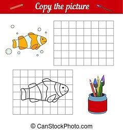 development., worksheet., grid., bubbles., magazine., fish, szabad, karikatúra, minta beír, játék, színezés, bohóckodik, tenger, life., másol, gyerekek, oldal