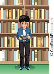 diák, fiú olvas, ábra, könyvtár