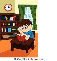 diák, könyvtár