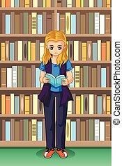 diák, lány olvas, ábra, könyvtár