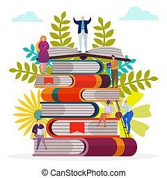 diák, olvas, emberek, tudás, könyvtár, concept., oktatás, könyv, tanul, vektor, karikatúra, illustration., kazal, nő, betű, ember