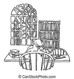 diák, tanulás, könyvtár