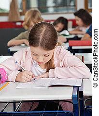 diáklány, íróasztal