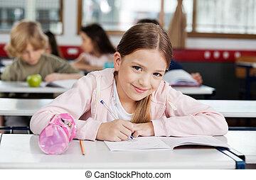 diáklány, portré, könyv, rajz