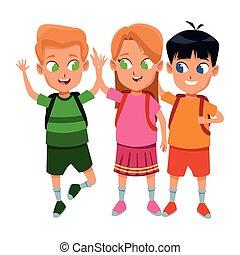 diákok, csinos, izbogis, gyermekkor, karikatúra