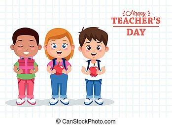 diákok, csoport, nap, felirat, tanár