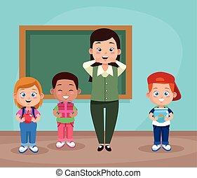 diákok, csoport, tanár, osztályterem