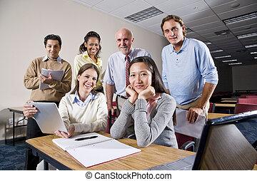 diákok, főiskola, csoport, osztály tanár