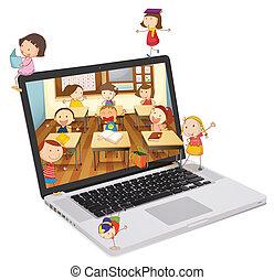 diákok, film, izbogis, laptop