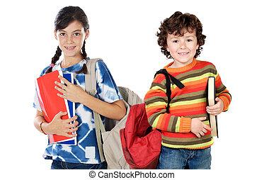 diákok, iskolások, két, jelent