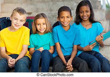 diákok, izbogis, csoport, elemi