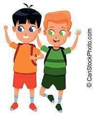 diákok, izbogis, imádnivaló, gyermekkor, karikatúra