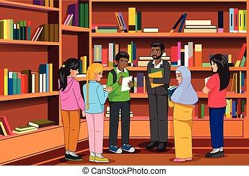 diákok, könyvtár, ábra, tanár