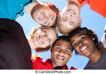 diákok, multi-racial, mosolygós, főiskola, arc