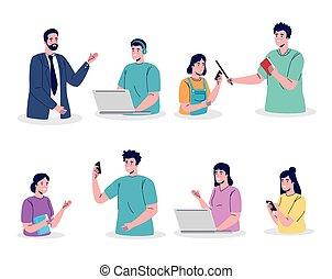 diákok, oktatás, csoport, online, hét, tanár