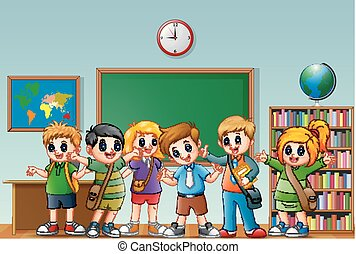 diákok, osztályterem, boldog