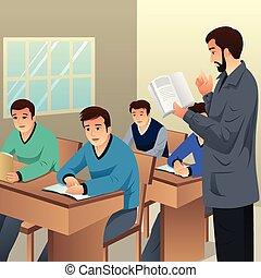 diákok, osztályterem, főiskola, ábra