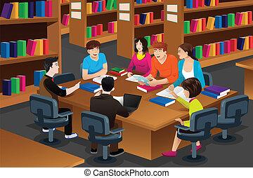 diákok, tanulás, főiskola, könyvtár