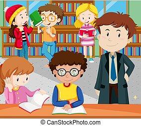 diákok, tanulás, felolvasás, könyvtár
