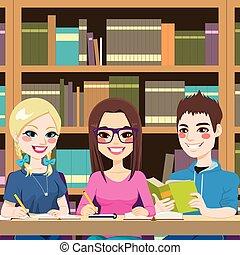 diákok, tanulás, könyvtár