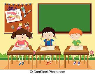 diákok, tanulás, osztályterem