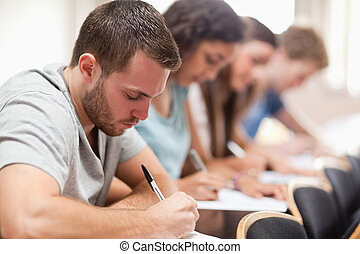 diákok, vizsga, súlyos, ülés