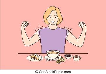 diéta, élelmiszer, fogalom, siker, diadal, törődik, egészség