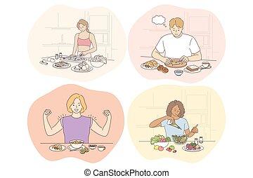 diéta, élelmiszer, súly, fogalom, táplálás, alkatrészek, kitakarít, kár, egészséges eszik