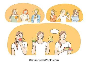 diéta, élelmiszer, súly, fogalom, táplálás, kitakarít, gyümölcs, kár, egészséges eszik