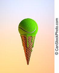 diéta, egészséges, concept., minimális, fagylalt, labda, egészségtelen, tölcsér, instead, táplálék., tenisz, 3, ábra