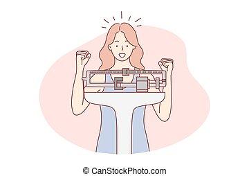 diéta, súly, teljesítés, fogalom, egészség, siker, gól