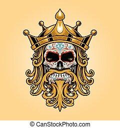 dia, muertos, elszabadult, ellen-, koponya, jel, király, ábra, fejtető, arany