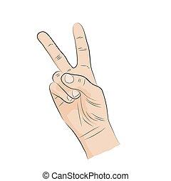 diadal, language., hand-sign, v-shape