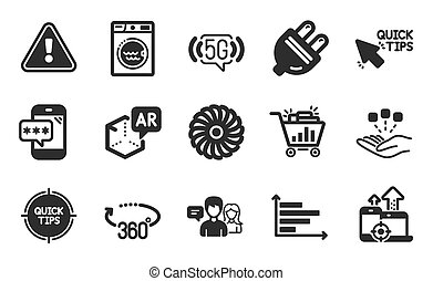 diagram, wifi, set., 5g, horizontális, bedugaszol, vektor, rajongó, ikonok, meglegyintés, gyors, megszilárdítás, signs., gép, elektromos